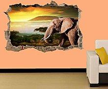 Adesivi Murali ELEFANTE IN WILD LIFE TRAMONTO