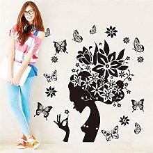 adesivi murali fata fiore nero cartone animato per