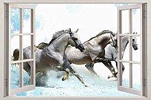 Adesivi murali Finestra 3D cavalli al galoppo