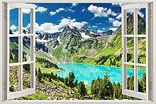Adesivi murali Finestra 3d paesaggio decalcomania