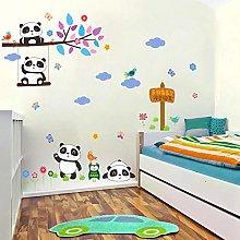 adesivi murali foresta panda uccelli ramo di