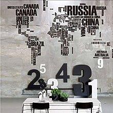 Adesivi Murali Grande Mappa Del Mondo Lettere