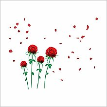 adesivi murali moderni fai da te rose rosse fiore