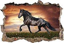 Adesivi murali Muro Smashed Cavallo 3D