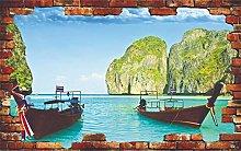Adesivi murali Natura Barca Lago Montagne Acqua