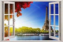 Adesivi Murali Parigi Alba 3D finestra vista
