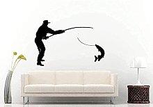 Adesivi murali Pescatore Pesci giganti Silhouette