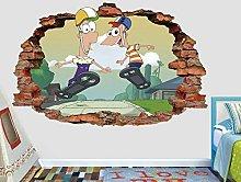 Adesivi Murali Phineas e Ferb skateboard adesivo