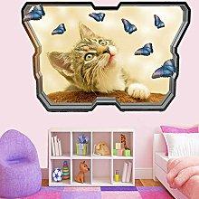 Adesivi Murali Piccolo gattino farfalle adesivo da
