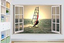 Adesivi murali poster Adesivi WIND SURFER SUL MARE