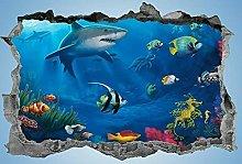 Adesivi murali Spiaggia, adesivo, 3d, spiaggia