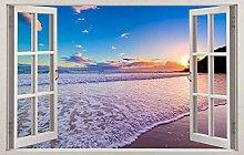 Adesivi murali Spiaggia tramonto 3d vetrofania