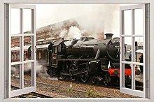 Adesivi murali Treno 3D finestra vista