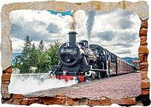 Adesivi murali - Treno 3d fracassato parete vista