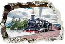 Adesivi murali Treno a vapore 3d fracassato parete