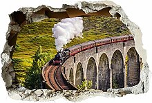 Adesivi murali - Treno a vapore 3d fracassato Wall