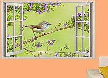 Adesivi Murali Uccello fringuello sul ramo fiorito