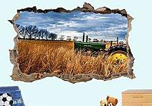 Adesivi Murali Vecchio trattore campo di grano