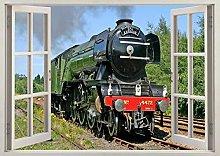 Adesivi Murali Volare treno 3d finestra adesivo da