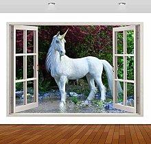 Adesivi murali White Horse Animal 3D murale