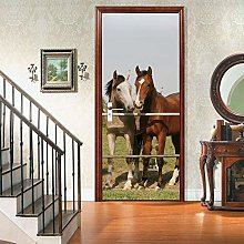 Adesivi Per Porte 3D Animali Due Cavalli 3D