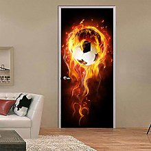 Adesivi Per Porte 3D Football Flame Mural