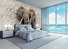 Adesivo da parete 3D Art Elephant Opening Animal