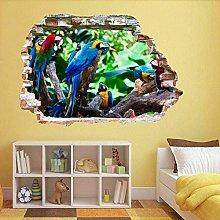 Adesivo da parete 3D Bellissimi pappagalli Adesivo