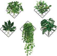 Adesivo da parete 3D con griglia di piante verde