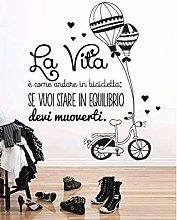 Adesivo Da Parete Adesivo Murale Balloon Bike Love