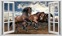 Adesivo da parete animale corsa di cavalli 3D
