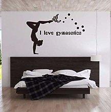 Adesivo da parete in PVC Amo la ginnastica Adesivo
