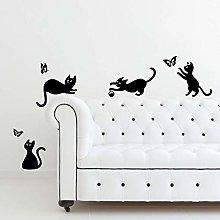 Adesivo da parete in vinile con gatti che saltano