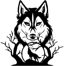 Adesivo da parete murale Howling Wolf In forest