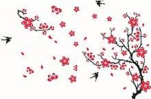Adesivo da parete rondine fiore di prugna per