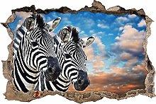 Adesivo Effetto 3D Stickers -bella coppia di zebre