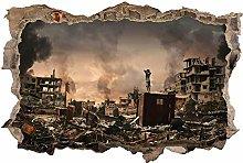 Adesivo Effetto 3D Stickers -Città di guerra -