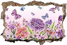 Adesivo Effetto 3D Stickers -Farfalla fiore -