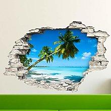 Adesivo Effetto 3D  Stickers Palme su Spiaggia