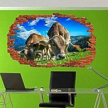 Adesivo murale 3D Animali della fattoria Bovini