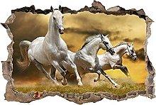 Adesivo murale 3D Cavalli bianchi distrutti