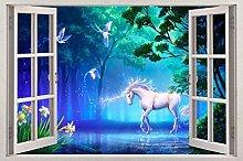 Adesivo murale 3D Cavallo Fantasia Finestra Vista