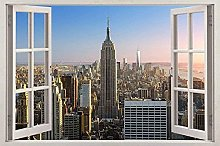 Adesivo murale 3D City Window View Decal Decor Art