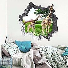 Adesivo murale 3D con giraffa prato