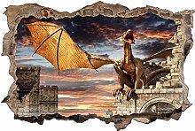 Adesivo murale 3D,Drago,decorazione murale per