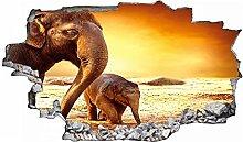 Adesivo murale 3D,elefante,decorazione murale per