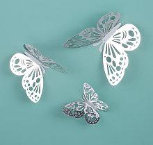 Adesivo murale 3D farfalla vuota, argento, 12 pezzi