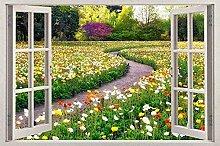 Adesivo murale 3D Flower Garden Window View Decal