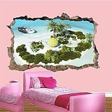 Adesivo murale 3D Isola tropicale privata Spiaggia