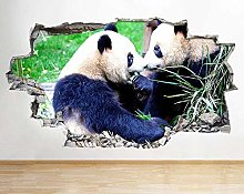 Adesivo murale 3D Living Animal Panda Smashed Room
